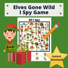 It is almost Christmas and the Elves have gone wild! Memory games are not only fun but great for the brain! I always had them on hand for the littles, to fill that dead time at the restaurant table when waiting for the food to arrive, at the doctors office while waiting to finally get into a room or Christmas Games, Christmas Printables, Kids Christmas, I Spy Games, Memory Games, Elf Me, The Elf, Operation Christmas, Doctor Office