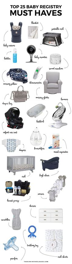 Top 25 Baby Registry Must Haves - Kiwi in the Clouds -   Top 25 Baby Registry Must Haves   Creating the perfect registry can be overwhelming, time consuming and costly. Skip the mistakes of a first time mom and discover what baby items you actually need!   - http://progres-shop.com/top-25-baby-registry-must-haves-kiwi-in-the-clouds/