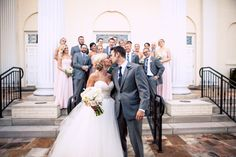 The #newlyweds #stealakiss in front of their #bestfriends. ::Amber + Chris's striking wedding at Peachtree Road United Methodist and the Fernbank Museum of Natural History in Atlanta, Georgia:: #atlantawedding #georgiawedding #georgiaphotographer #brideandgroom #weddingparty #groomsmen #bridesmaids #happiness