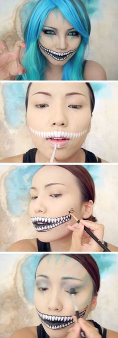 Freaky Cheshire Cat Makeup Tutorial Easy Halloween Makeup Tutorials for Girls The post 40 Awesome DIY Halloween Costumes for Women appeared first on Best Pins for Yours - Makeup Ideas Halloween Diy Kostüm, Halloween Zombie Makeup, Diy Halloween Costumes For Women, Maquillaje Halloween, Halloween Looks, Easy Costumes, Halloween Tutorial, Awesome Halloween Makeup, Bricolage Halloween