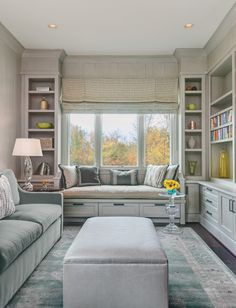 The library/guest room boasts a soothing celadon palette and custom window seat. Home Room Design, Home Office Design, Bedroom Decor For Small Rooms, Guest Room Office, Home Decor Kitchen, Cozy House, Home Living Room, Furniture Design, Fine Furniture