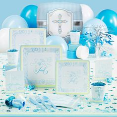Faithful Dove Blue Confirmation Party Supplies First Communion Holy Baptism Table