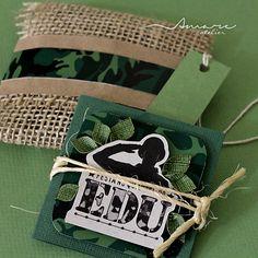 Convites artesanais handmade * Design feito com amor! By #amareatelier | Quartel do Edu | #exercito #party #army #birthday #boy #scrap #diy #invites |  facebook.com/amareatelier
