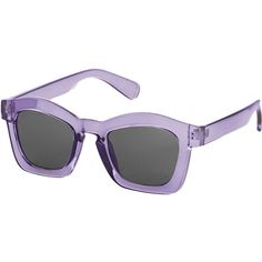 TOPSHOP Wanda Angular Sunglasses (91 RON) ❤ liked on Polyvore featuring accessories, eyewear, sunglasses, glasses, lilac, topshop sunglasses, plastic glasses, plastic sunglasses, dark lens sunglasses and square sunglasses