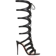 Christian Louboutin  100mm Amazoula Leather Gladiator Sandals (5.000 BRL) ❤ liked on Polyvore featuring shoes, sandals, black, greek leather sandals, high heel shoes, black leather sandals, leather gladiator sandals and black shoes