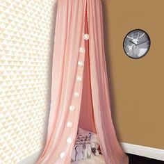 In #love with this #pink 🌸#canopy only by #teepeelicious #teepee for a #dream #nurserydecor #handmade #kidsroomdecor #wallpaper #wallcovering #clock #stringlights #sheepskin #pillows #cushions #feathers Cushions, Pillows, Canopies, String Lights, Nursery Decor, Feathers, Girly, Clock, Curtains