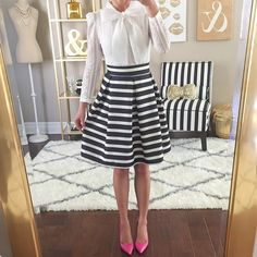 "Um...this bow blouse is under $15 (nice quality too!) and my favorite striped skirt is only $42! Shop this outfit (and home decor) 3 simple ways:  1⃣ Head to StylishPetite.com and select the SHOP tab, then select Currently Loving tab or Home Decor  2⃣ Sign up only once at LIKEtoKNOW.it and ""like"" this photo to get an email with outfit details and my home decor OR  3⃣ Type this exact link into your browser www.liketk.it/1iCTi"