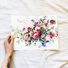 Love this color palate for the apt #aquarelle #watercolor #floral  #botany