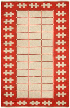 A Swedish carpet Item No: BB4782 Size: 9'2'' × 5'9'' Circa: 1940 A modern rug from Sweden with an open beige field beneath a red grid pattern within a bold red border with beige ...