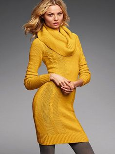 Long-sleeve Turtleneck Cable Sweaterdress #VictoriasSecret | KNIT ...