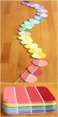 DIY Paint Chip Easter Garland - Modern Parents Messy Kids - Education Assistant - Easter Egg GArland made from Paint chips - Easy Easter Crafts, Easter Art, Easter Crafts For Kids, Diy For Kids, Easter Ideas, Easter Eggs, Easter Table, Easter Recipes, Diy Easter Toys