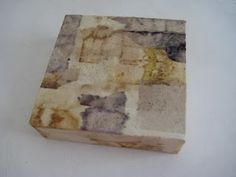 """Barbara Bartlett – Tea Boxes  """"This past week I've been working on a smaller scale with the stained tea bags. The boxes I'm covering are 5 x 5 x 1 1/2 inches."""""""