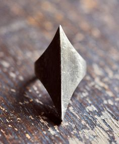 silver hex ring.