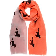 HORSES Dusk Fire Ombre Silk Woman Scarf (375 CAD) ❤ liked on Polyvore featuring accessories, scarves, silk scarves, orange silk scarves, ombre scarves, orange shawl and silk shawl