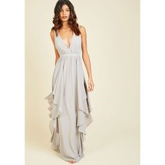 Long Sleeveless A-line Stately Slow Dance Maxi Dress ($120) ❤ liked on Polyvore featuring dresses, gowns, apparel, grey, grey gown, long gray dress, long dresses, evening maxi dresses and grey maxi dress