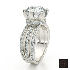 Fashion engagement white gold ring with diamonds 3D Model .max .c4d .obj .3ds .fbx .lwo .stl @3DExport.com by MarkJaroo