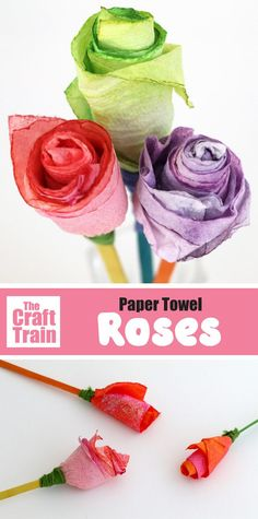 Gorgeous paper towel roses craft for kids. Scrunch-dye the paper towel, then roll up into a rose shape and tie to a long craft stick. This is a fun idea for Valentines Day, mothers day, Spring or as a handmade gift kids can make for any occasion Flower Crafts Kids, Rose Crafts, Easy Crafts For Kids, Gifts For Kids, Paper Towel Roll Crafts, Straw Crafts, Craft Stick Crafts, Paper Crafts, Paper Rose Craft