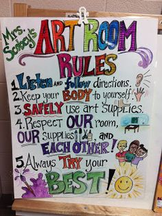 elementary art projects from my art room Art Class Rules, Art Room Rules, Art Rules, Room Art, Art Room Doors, Art Classroom Decor, Art Classroom Management, Classroom Ideas, Classroom Signs