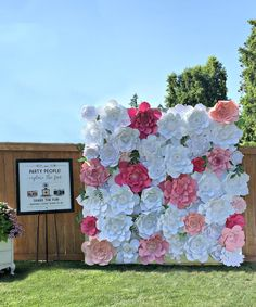Giant Paper Flower Wall Paper Flower perfect for your wedding backdrop, event space, and more!  39 Extra Large Blooms (approx 18-21 inches) in assorted shades of pink and white and TEN leafed vines in two assorted shades of green. This installment/listing shown covers a space of 8 feet high by 8 feet long. (8x8)  Looking for flowers to match your event? Not a problem! Lets chat and make it happen! Love the look, but dont need quite that many? Thats a can do too! Lets work together to fil...