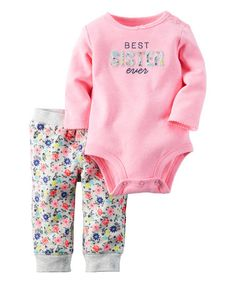 Another great find on #zulily! Pink 'Best Sister Ever' Bodysuit & White Floral Pants - Infant #zulilyfinds