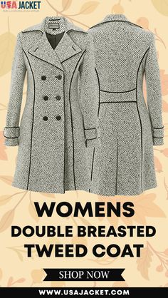 Womens Double Breasted Tweed Coat On UsaJacket