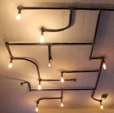 Best creative diy hanging light fixture ideas for your home 33 - All For Decoration Diy Luminaire, Diy Lampe, Pipe Lighting, Industrial Lighting, Industrial Light Fixtures, Industrial Pipe, Ceiling Lighting, Ceiling Lamp, Bedroom Lamps