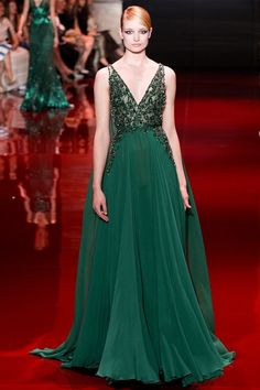 Elie Saab Green Evening Dress.I Like this Style and Color!