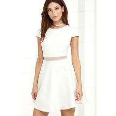 Legendary Lovers White Skater Dress ($54) ❤ liked on Polyvore featuring dresses, white, cap sleeve skater dress, white skater dress, white flared skirt, skater skirts and short cap sleeve dress