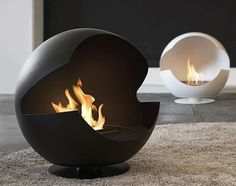 Well this probably isn't the best idea ever. This Globe portable fireplace from Vauni certainly looks very stylish and modern, if a bit Pac-Manlike, but Simple Fireplace, Home Fireplace, Modern Fireplace, Fireplace Design, Fireplace Ideas, Metal Fireplace, Chimenea Simple, Portable Fireplace, Ethanol Fireplace