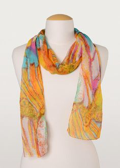 Show your true colours with this bright crinkle chiffon scarf. A fun, fashionable personal accessory. True Colors, Colours, Fair Trade Jewelry, Chiffon Scarf, Crinkles, Unique Gifts, Scarves, Artisan, Bright