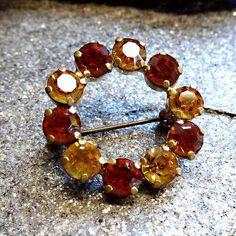 Austrian Vintage Crystal Pin Orange Citrine Brooch 1950s Jewelry $38