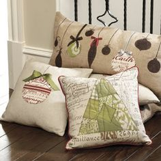 Pillows for the holidays.  I made some for gifts and myself.  I loved making them and knowing each year they would be displayed during the holidays.
