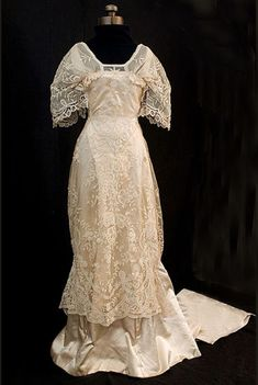 Princess lace over satin wedding gown, c.1910, from the Vintage Textile archives.