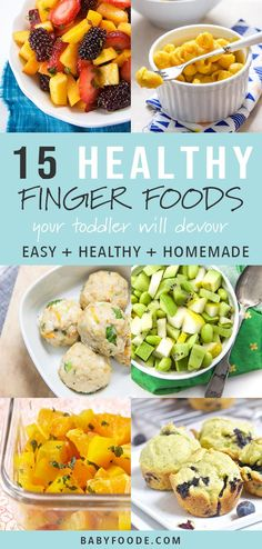 These 15 Healthy Finger Foods for Toddlers will make feeding your active toddler a snap. These homemade toddler recipes are easy, delicious, healthy and super fun to eat! Whether you're looking for ideas for baby led weaning, toddler snacks, or eas Toddler Finger Foods, Healthy Finger Foods, Toddler Meals, Healthy Snacks, Healthy Recipes, Toddler Recipes, Toddler Food, Homemade Toddler Snacks, Nutritious Meals