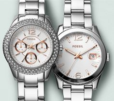 STEEL YOURSELF: Sleek, stylish, and sometimes sparkling—our silver-tone watches are coming up roses. #Fossil
