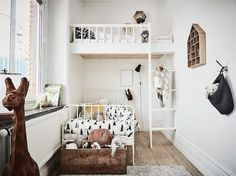 Shared children's bedroom with a built-in oft bed in a swedish home. Entrance.