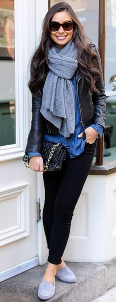 Gray Suede Mocassins Fall Street Style Inspo by With Love From Kat
