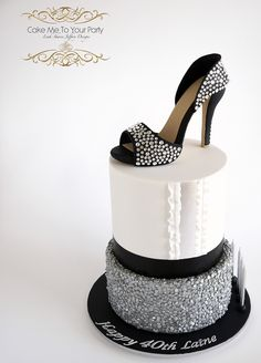 Crystal Sugar Shoe on Sequins Cake | As a dancer, I can certainly appreciate a cake with pizazz, sparkle, shimmer and finesse!  The black handmade sugar high heel, had hundreds of real Swarovski Crystals on it. For this special 40th birthday celebration, all cakes were marble mud, filled with marbled chocolate ganache buttercream.  We can only hope to have friends like Jody, who requested this cake for her friend (I heard that even took the birthday girl on a surprise cruise)!!!