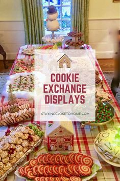 Learn some tips and tricks for the pros. This is our year and the competition gets fierce with creating a cookie exchange display to bring home the prize. Learn how to create fun cookie displays for your next cookie exchange. Christmas Food Gifts, All Things Christmas, Christmas Fun, Christmas Recipes, Holiday Foods, Holiday Recipes, Holiday Ideas, Christmas Decorations, Drop Cookies