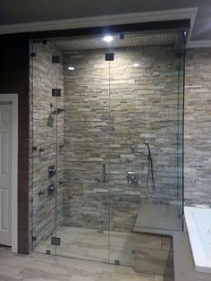 Image result for master shower river rock floor stacked stone wall