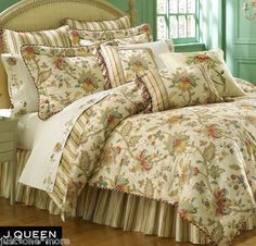 J Queen Verona 4pc King Comforter Set Jacobean Floral Paisley Stripe Tropical | eBay