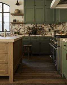 Mossy Green Cabinets, Kitchen by DISC Interiors