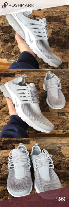 Nike Air Presto Sneakers Woman's Nike Air Presto Sneakers Style: 878068-006 Wolf grey and white New with original box, no lid Small mark on front of right sneaker seen in the 3rd photo Size 8 - price is firm Nike Shoes Sneakers