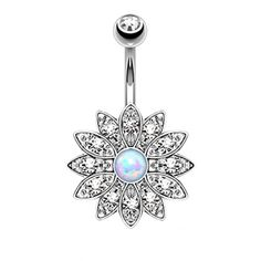 BodyJ4You® Belly Button Ring Crystal Clear Jeweled Opal Flower Piercing Jewelry 14G