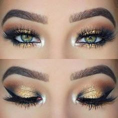 Black and Gold Eye Makeup Look for Green Eyes. Follow me: forever_wild1 for more! #glamorousmakeup