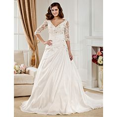 Lan+Ting+Ball+Gown+Plus+Sizes+Wedding+Dress+-+Ivory+Chapel+Train+V-neck+Taffeta+–+USD+$+199.99