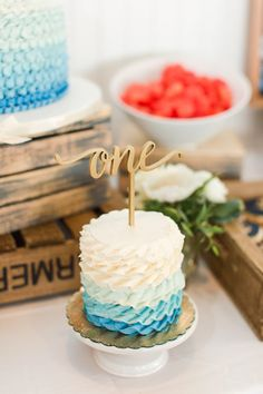 Blue + White Ombre Cake from a Nautical Birthday Party on Kara's Party Ideas. Nautical Cake Pops, Nautical Birthday Cakes, Boys 1st Birthday Cake, Boys First Birthday Party Ideas, White Birthday Cakes, Boy Birthday Parties, Sailor Birthday, Nautical Party, Donut Party