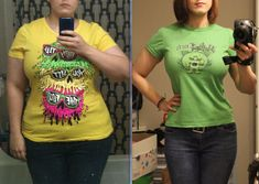 """Progress pics, 29 year old Female 5'8"""" 252 lbs to 157 lbs (95 lbs lost) in 1 year."""