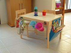 Ikea Hack Kids Table fully loaded.