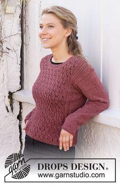 Raspberry Rose Sweater / DROPS 218-18 - Kostenlose Strickanleitungen von DROPS Design Free Knitting Patterns For Women, Lace Knitting Patterns, Christmas Knitting Patterns, Jumper Knitting Pattern, Easy Knitting, Drops Design, Drops Alpaca, Rose Sweater, Alpacas